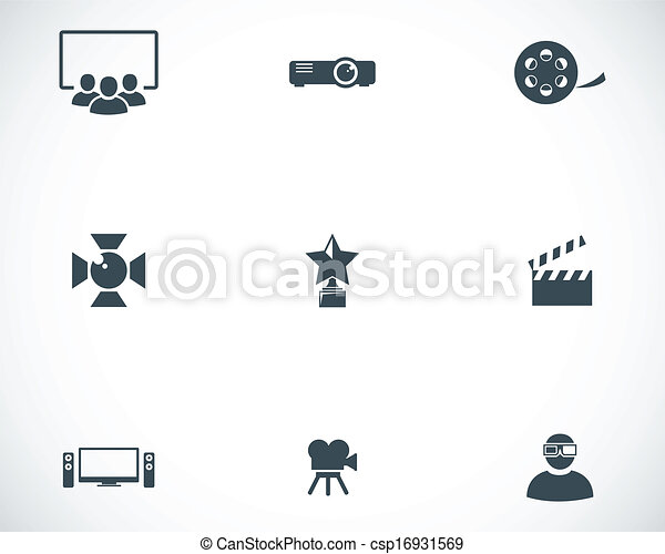 Vector black movie icons set - csp16931569