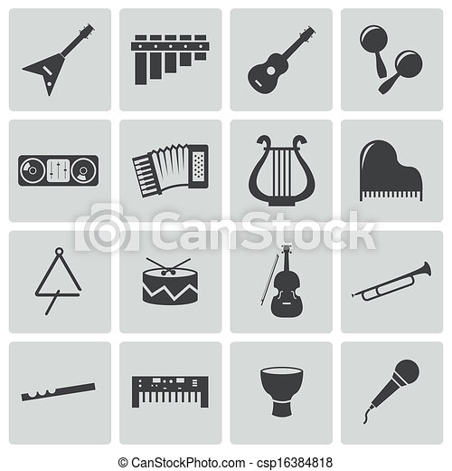 Vector black music instruments icons set - csp16384818