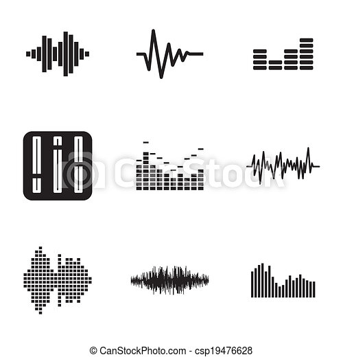 Vector black music soundwave icons set - csp19476628