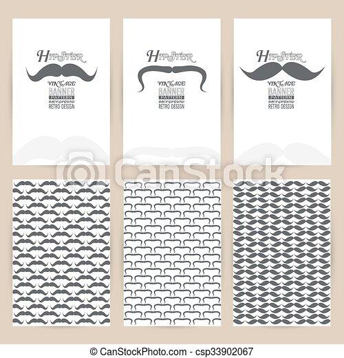 Vector black mustache set of vintage pattern background... clip art ...