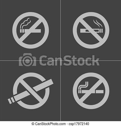 Vector black no smoking icons set - csp17972140