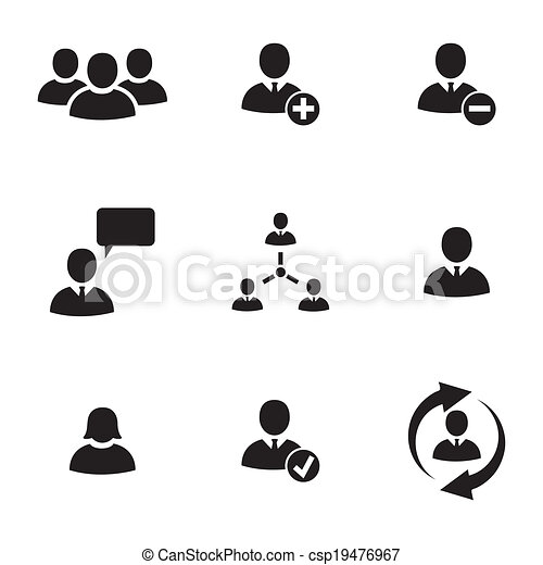 Vector black office people icons set - csp19476967