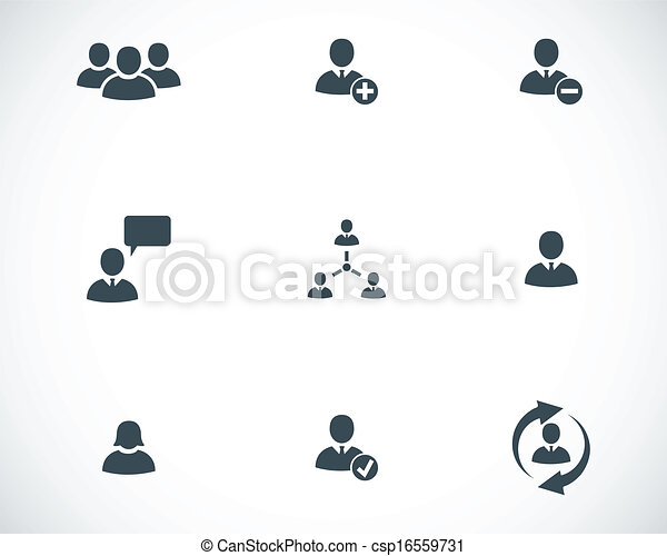 Vector black office people icons set - csp16559731