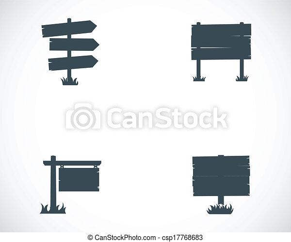 Vector black old wood sign set - csp17768683
