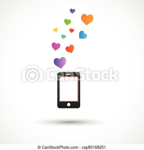 Vector black phone with bright hearts. Colorful logo design - csp80168251