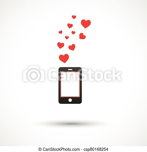 Vector black phone with bright hearts. Colorful logo design - csp80168254