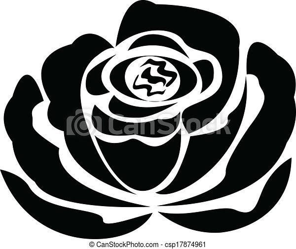 0f9818e35 Vector black rose silhouette logo. Vector black rose silhouette.