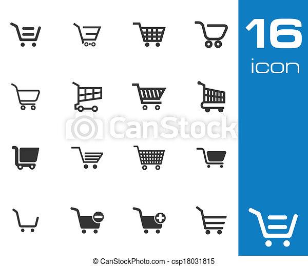Vector black  shopping cart  icons set - csp18031815
