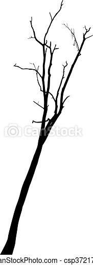 vector black silhouette of a bare tree - csp37217293