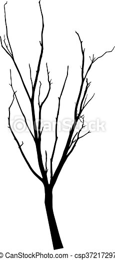 vector black silhouette of a bare tree - csp37217297