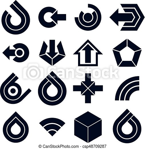 Vector black simple navigation pictograms collection. Set of flat corporate abstract design elements. Arrows and circular web icons. - csp48709287