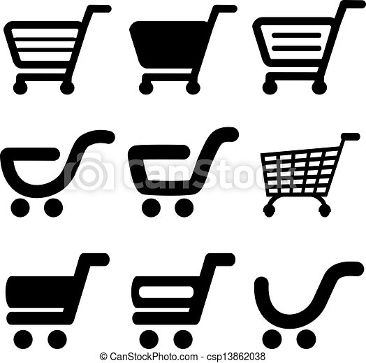 vector black simple shopping cart trolley item button illustration rh canstockphoto com shopping cart vector icon shopping cart bag icon vector