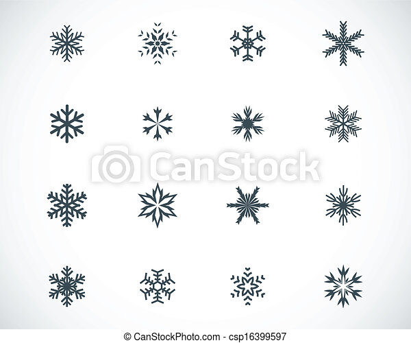 Vector black snowflake icons set - csp16399597