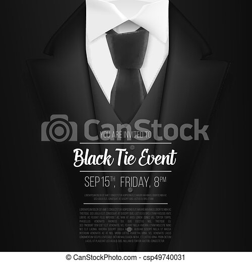Illustration of vector black suit black tie event invitation vector black suit black tie event invitation template realistic vector 3d mens suit with neck tie stopboris Images