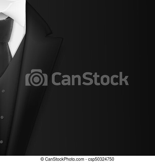 Vector Black Suit. Realistic Mens Tuxedo Suit Succeed Businessman Concept - csp50324750