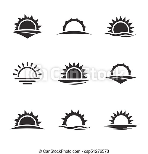 vector black sunrise icon set black on a white background rh canstockphoto com Simple Black and White Sunrise Black and White Cartoon Sunrise
