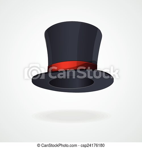 99ee8ec92d7 Vector black top hat and red ribbon isolated .