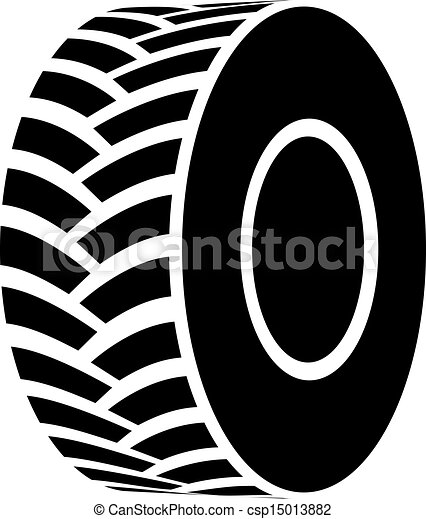vector black tractor tyre symbol - csp15013882