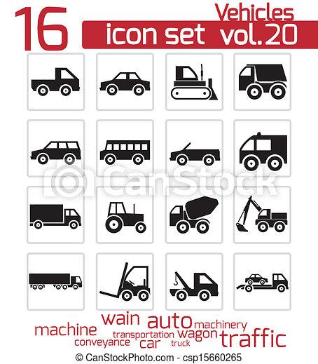 Vector black vehicle icon set - csp15660265