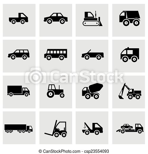 Vector black vehicles icons set - csp23554093