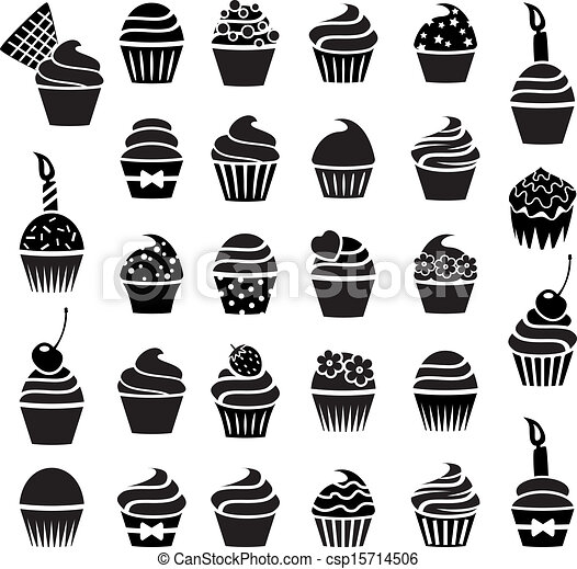 Vector iconos de magdalenas blancas y negras - csp15714506