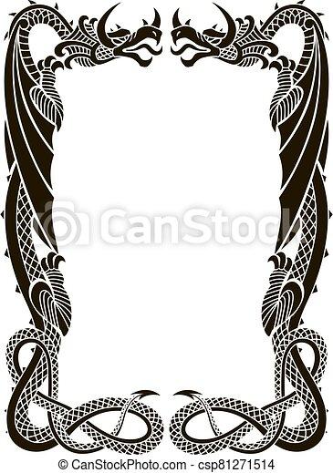 vector, blanco, fondo., dragons-frame-ornament-isolated, illustration.eps - csp81271514