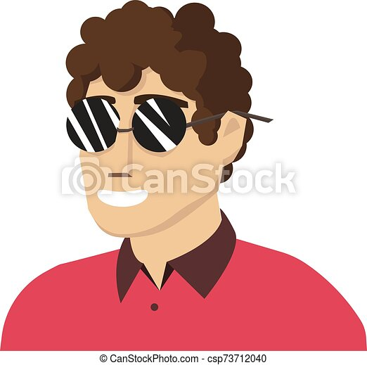 vector, blanco, fondo., ilustración, hombre, anteojos - csp73712040