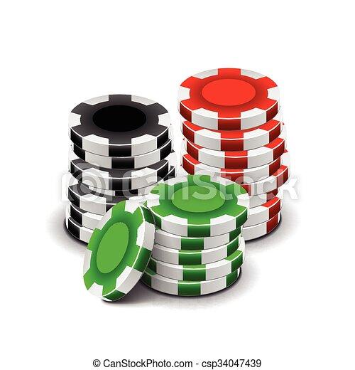 Chips de casino aislados en vector blanco - csp34047439