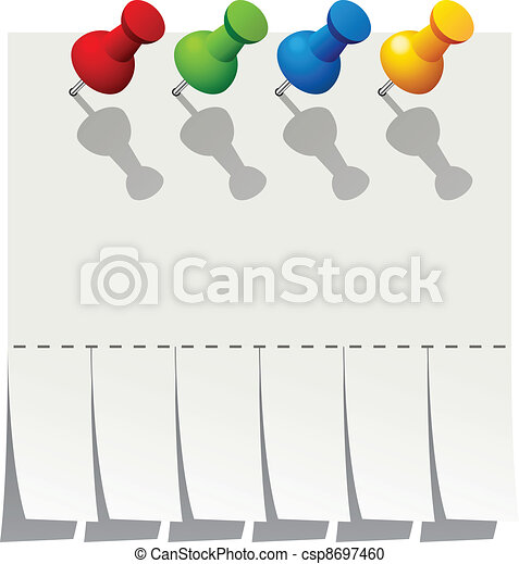 vector blank advertisement paper with push pins - csp8697460