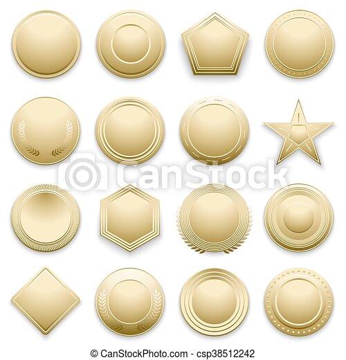 Vector blank gold labels set - csp38512242