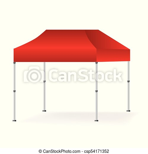 Vector Blank outdoor red marquee tent booth mock up isolated on white  background