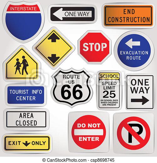 Vector. Blank road signs - csp8698745