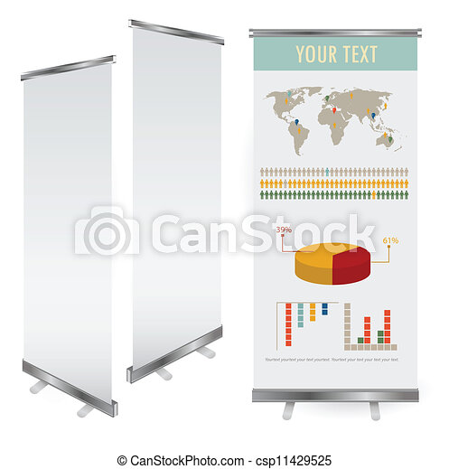 Vector blank roll up banner display template for designers - csp11429525