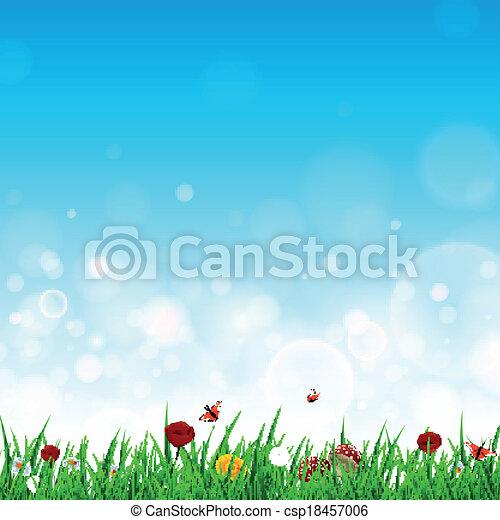 vector, bloemen, gras, landscape - csp18457006