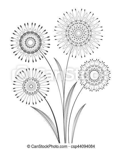 vector, bloemen, weide - csp44094084