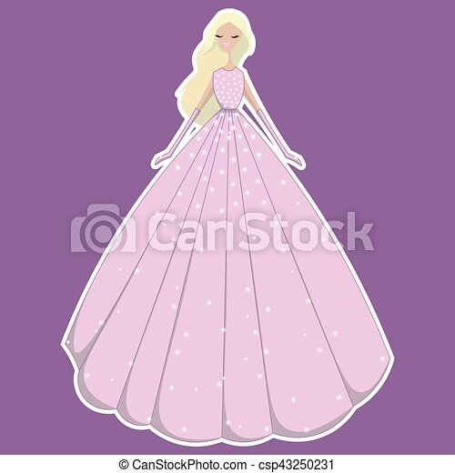 vector blonde girl in pink dress in sequins and gloves - csp43250231