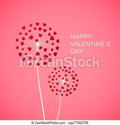 vector, blowball, love., feliz, día, diente de león, saludo, fondo., símbolo, hearts., corazón, rosa, tarjeta, valentine, pareja, rojo blanco - csp77002795