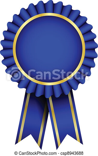 vector blue badge with ribbon vector search clip art illustration rh canstockphoto com blue ribbon vector free blue ribbon vector png