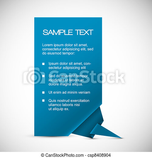 Vector Blue card with origami corner - csp8408904