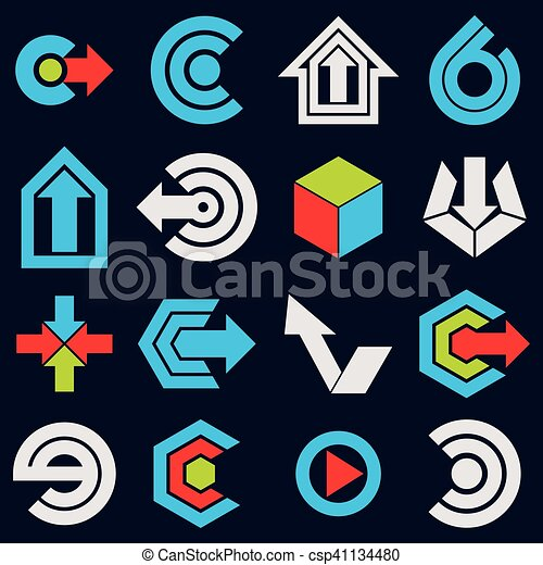 Vector blue flat simple navigation pictograms collection. Set of corporate abstract design elements. Arrows and circular web icons. - csp41134480