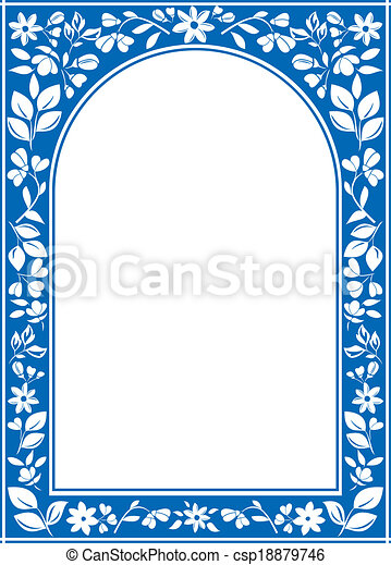 Vector blue floral arch frame with white center.