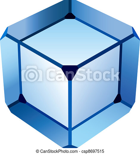 vector blue glass cube - csp8697515