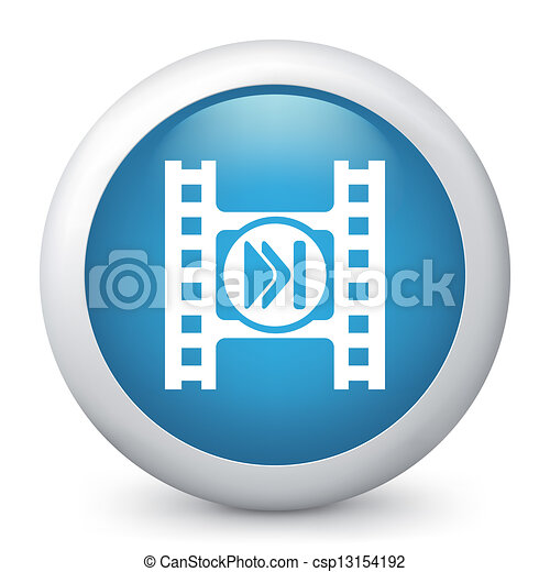 Vector blue glossy icon. - csp13154192