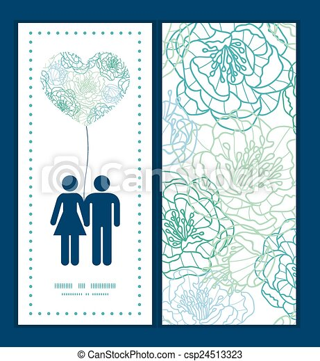 Vector blue line art flowers couple in love silhouettes frame pattern invitation greeting card template - csp24513323