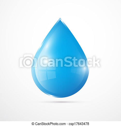 Vector Blue Vector Water Drop Isolated on White Background  - csp17643478