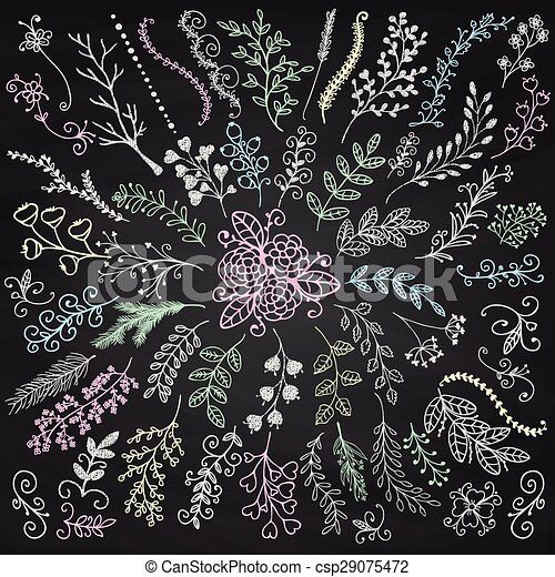 Vector Board Menu Hand Sketched Rustic Floral Branches