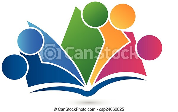 vector, boek, logo, teamwork, opleiding - csp24062825