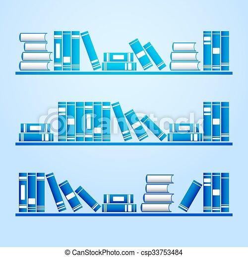 vector, boekjes , shelves. - csp33753484