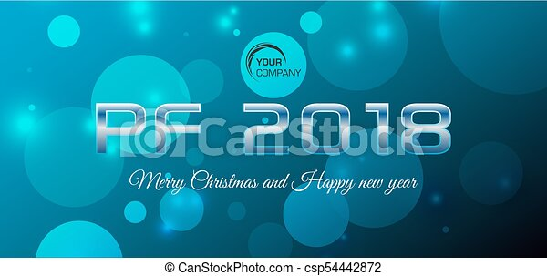 Vector bokeh 2018 happy new year card in blue color - csp54442872