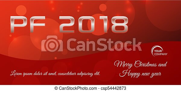 Vector bokeh 2018 happy new year card in red color - csp54442873